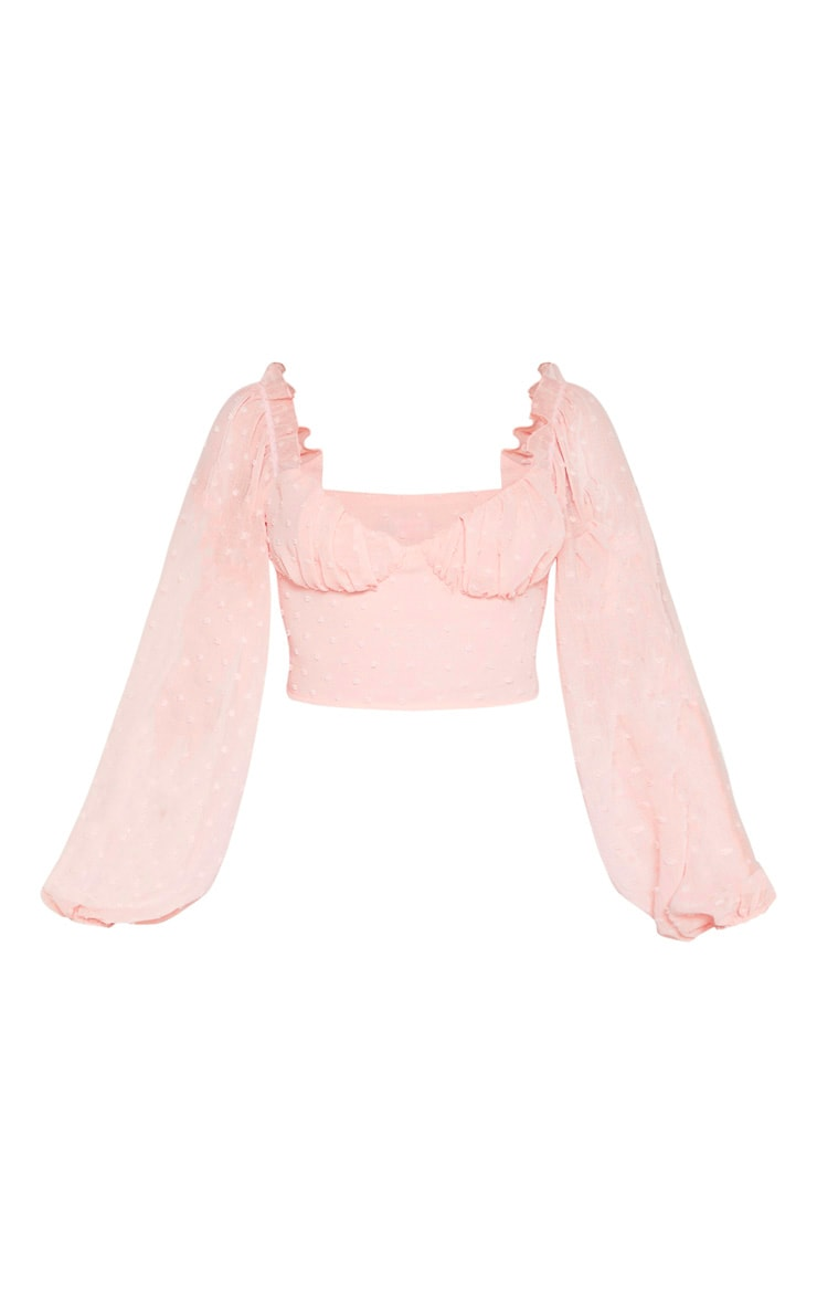 Rose Dobby Mesh Cup Detail Long Sleeve Crop Top 3