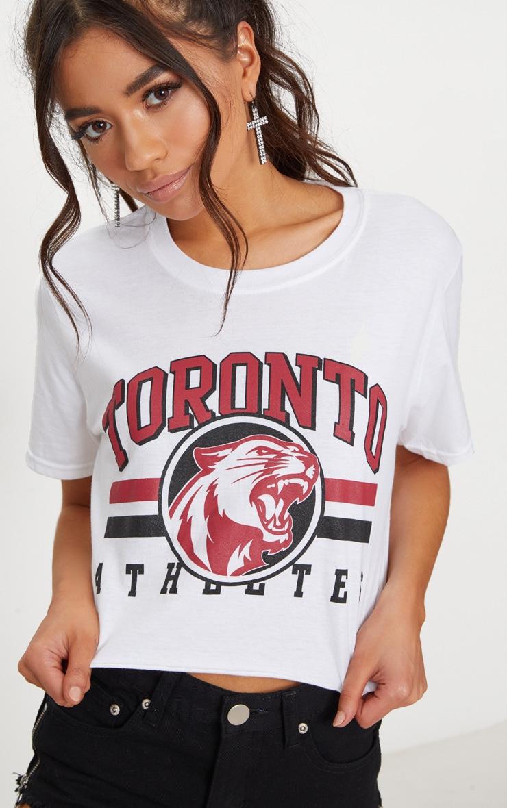 Petite White Toronto Slogan Cropped T-Shirt 4