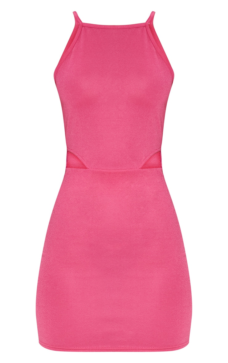 Hot Pink High Neck Cut Out Bodycon Dress 3