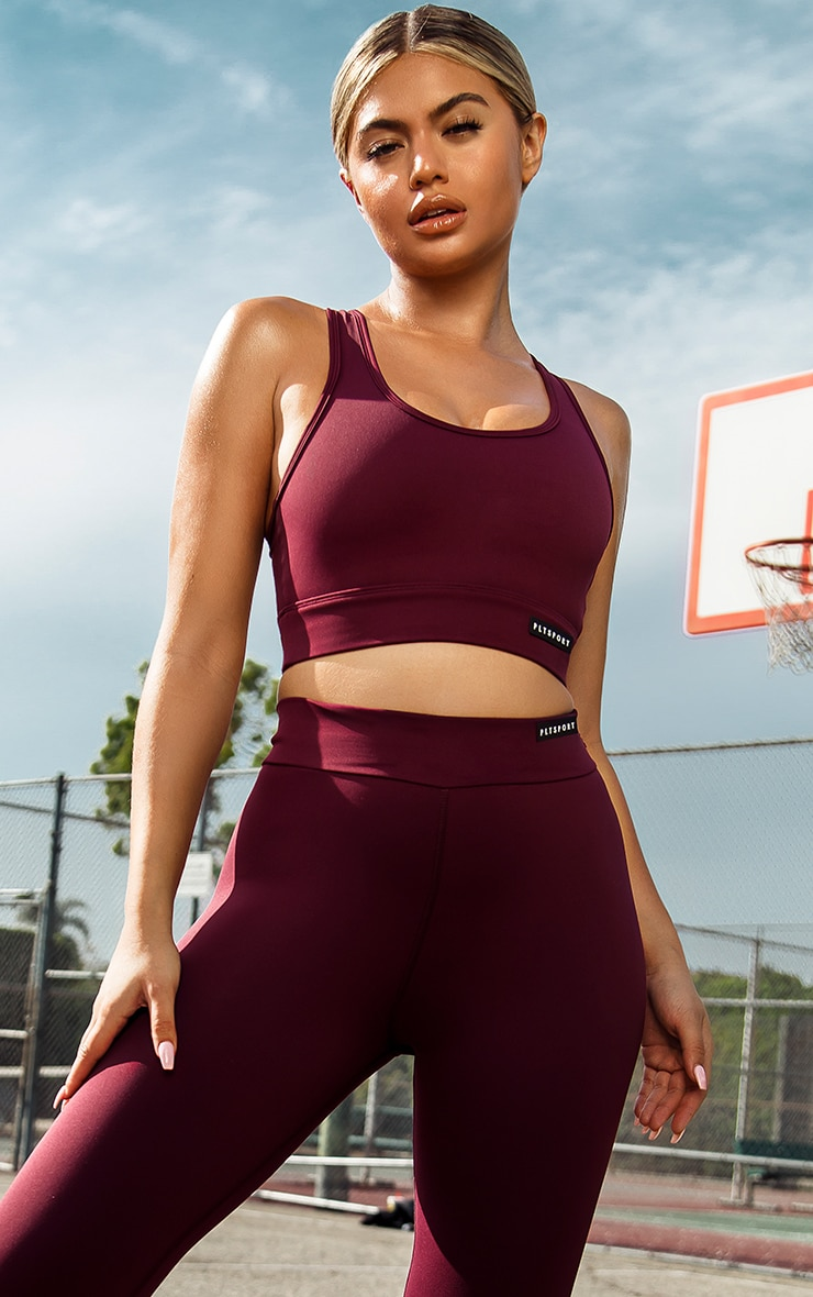 PRETTYLITTLETHING Plum Sport Racer Back Sports Bra