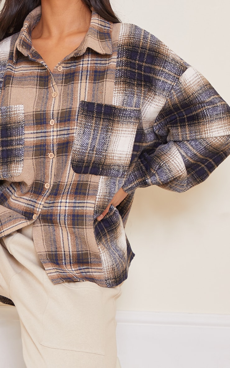 Petite Grey Mixed Checked Shirt 4