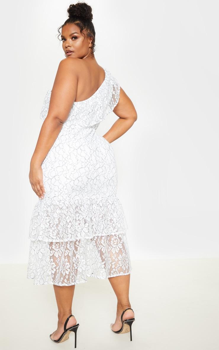 Plus White One Shoulder Lace Midaxi Dress 2
