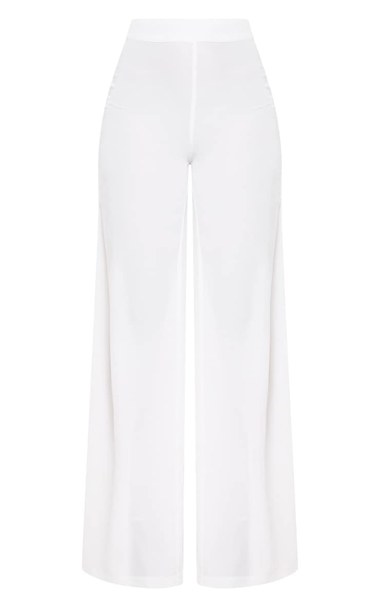 White Wide Leg Suit Pants 3