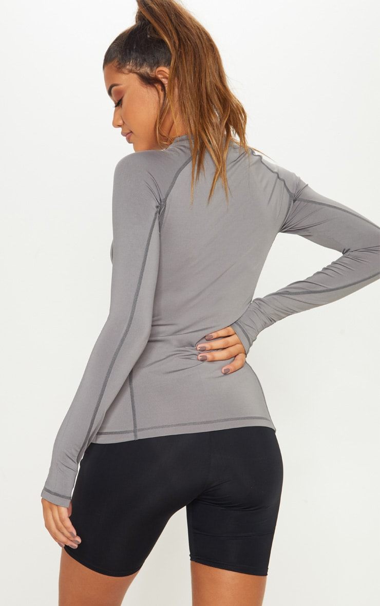 Charcoal Long Sleeved Gym Top 2