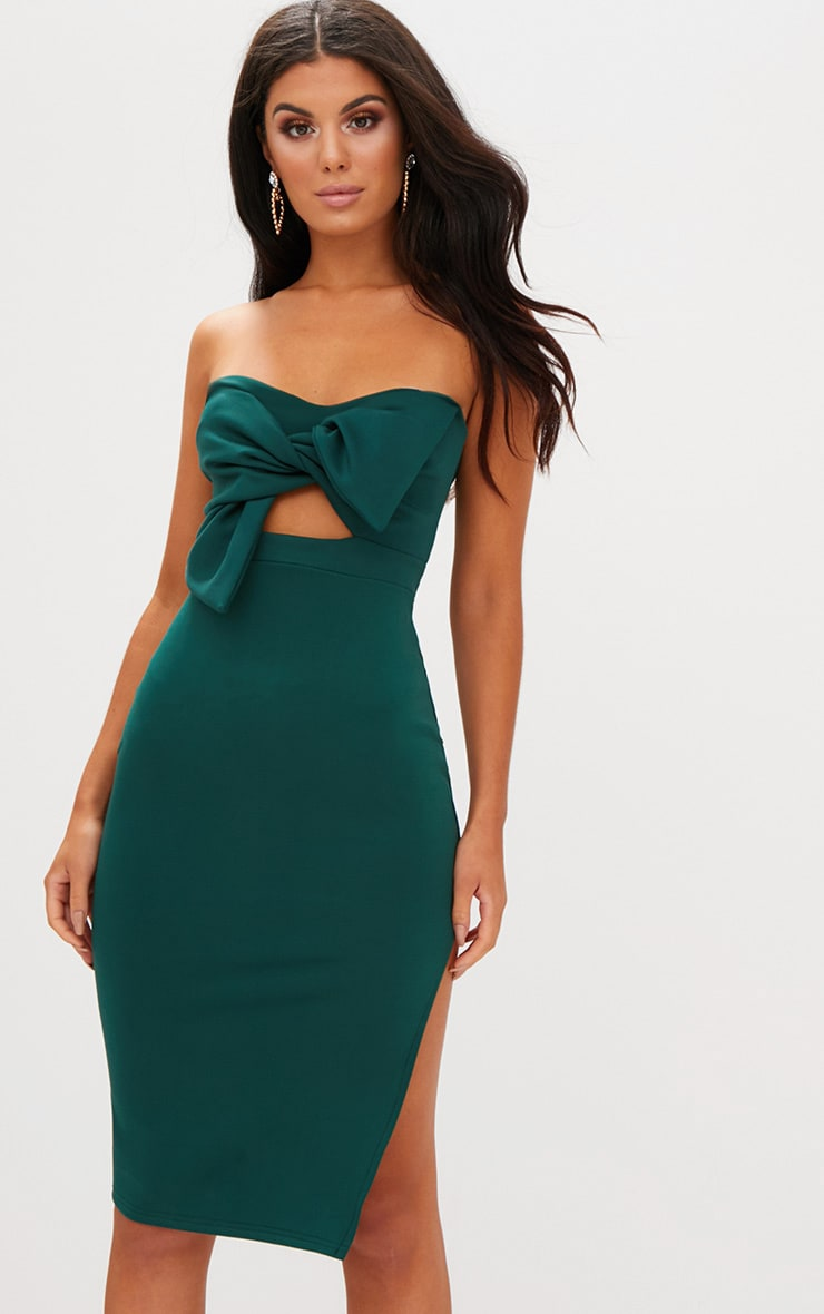 Emerald Green Bow Detail Scuba Midi Dress 1