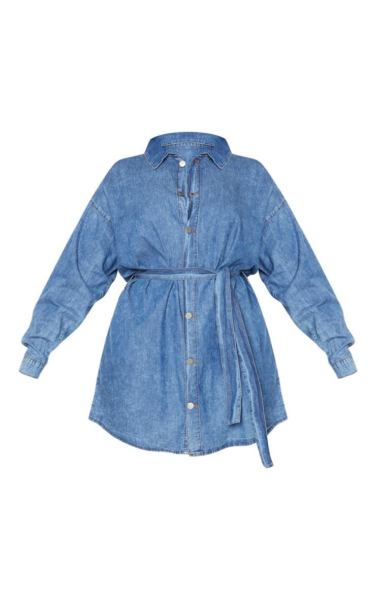 Plus Mid Blue Wash Belt Detail Denim Dress 3