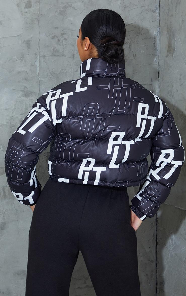 PRETTYLITTLETHING Black Retro Logo Cropped Puffer 2
