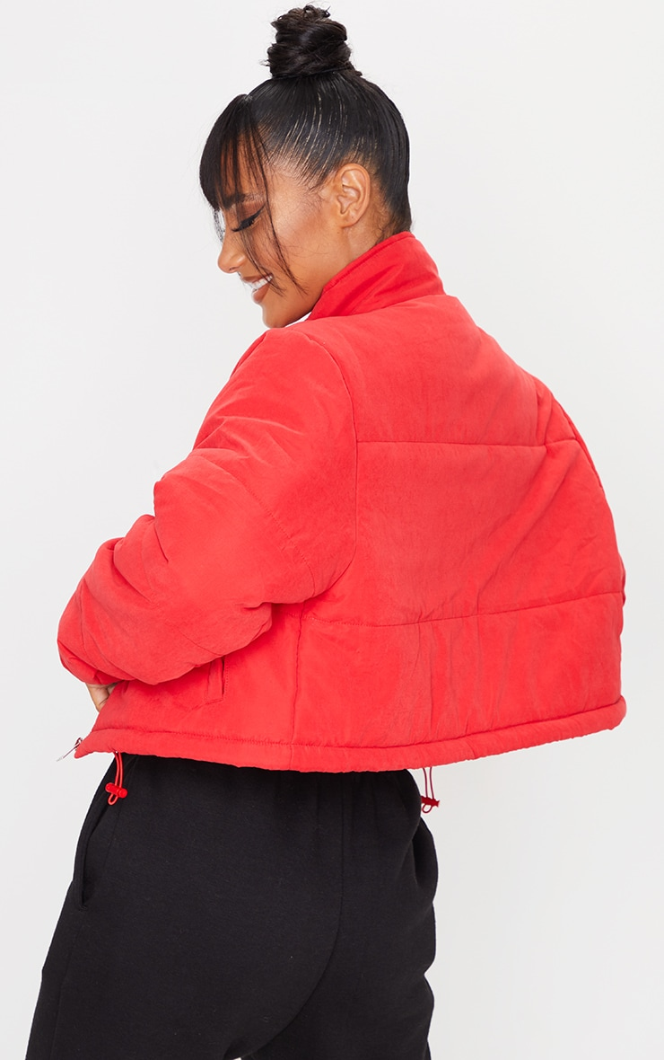 Red Super Cropped Peach Skin Puffer 2