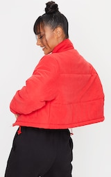Red Super Cropped Peach Skin Puffer 2