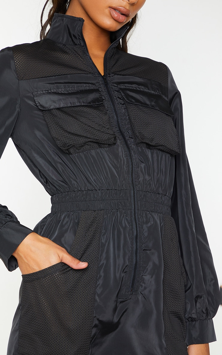 Black Contrast Mesh Detail Zip Through Shell Bodycon Dress 4