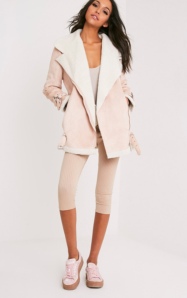 Simmi Blush Faux Suede Oversized Aviator Jacket 6