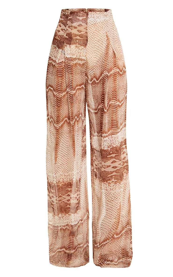 Stone Chiffon Snake High Waisted Wide Leg Trousers 3
