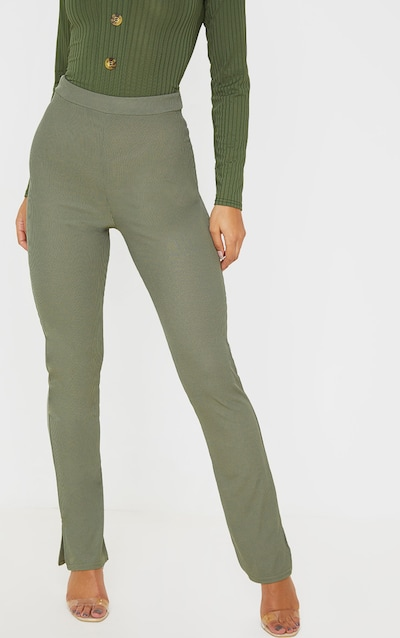 Khaki Ribbed Skinny Split Hem Trouser