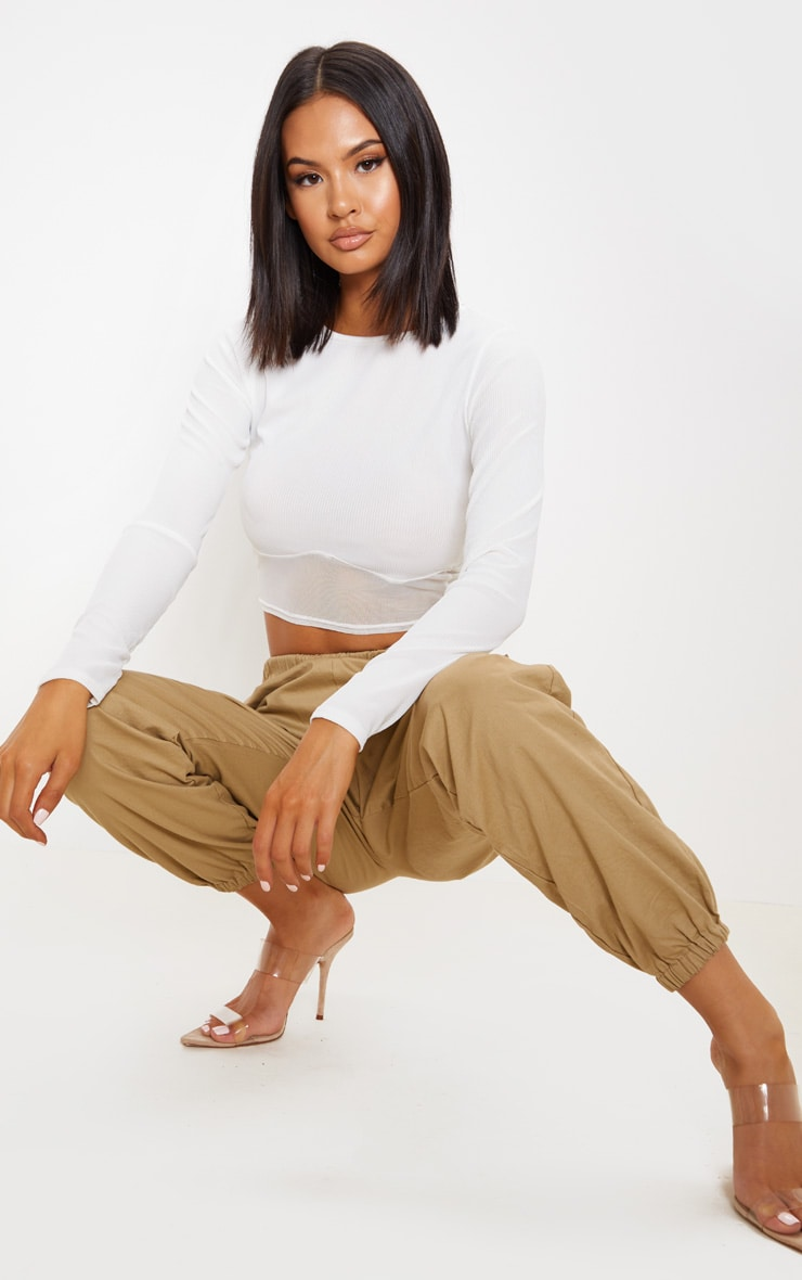 Cream Long Sleeve Mesh Trim Rib Crop Top 4