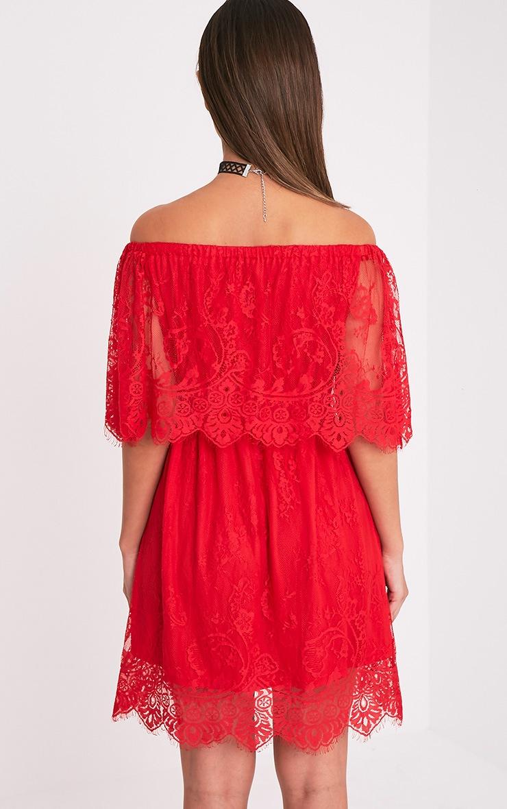 Zoe Red Eyelash Lace Bardot Dress 2