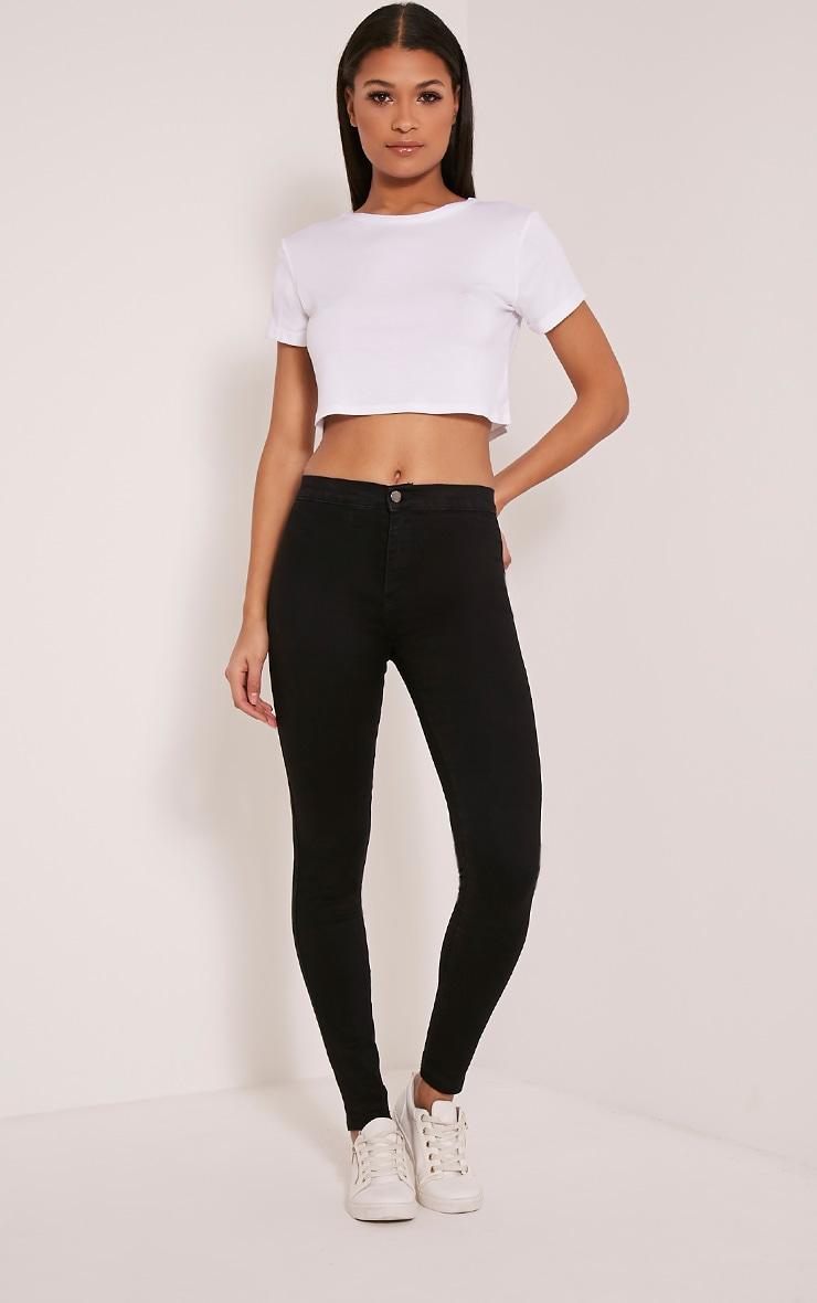 Black Mid Rise Skinny Jeans 1