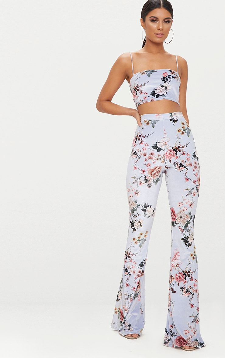 Grey Floral Velvet Flared Pants 1