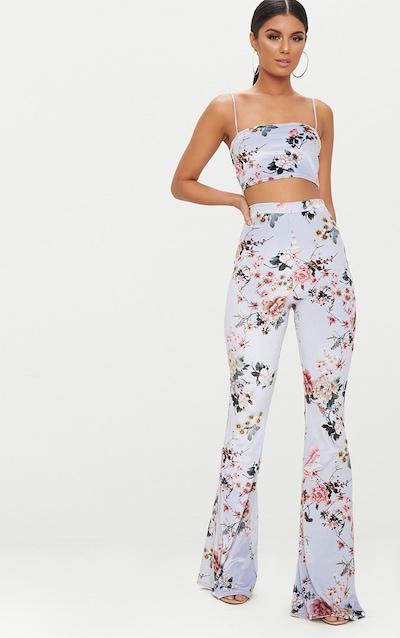 Grey Floral Velvet Flared Trousers