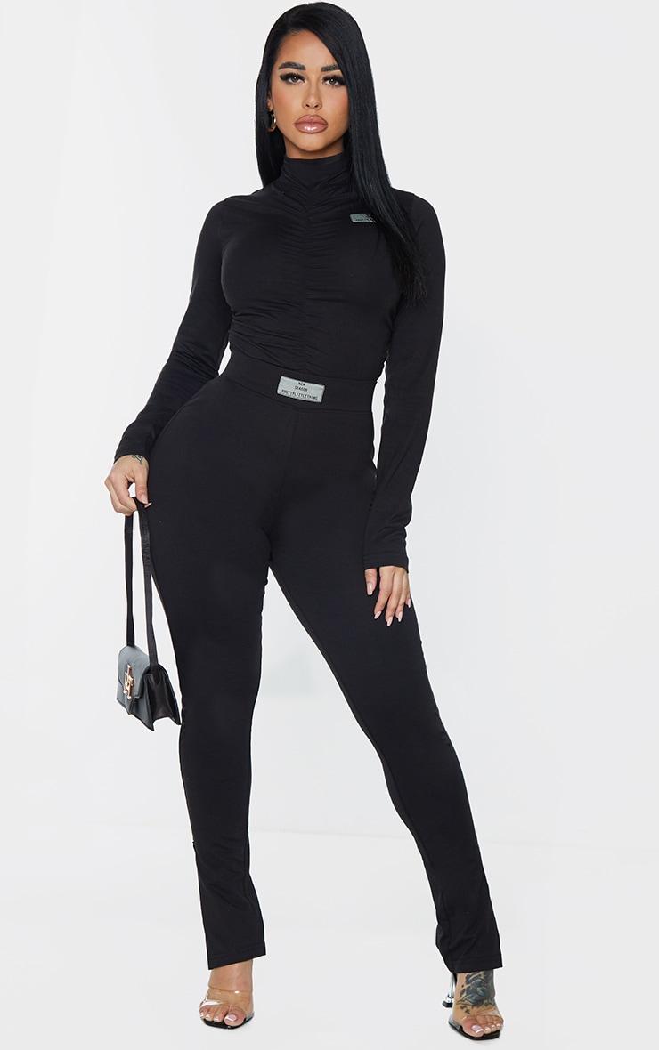 PRETTYLITTLETHING Shape Black New Season Ruched Bum Leggings 1