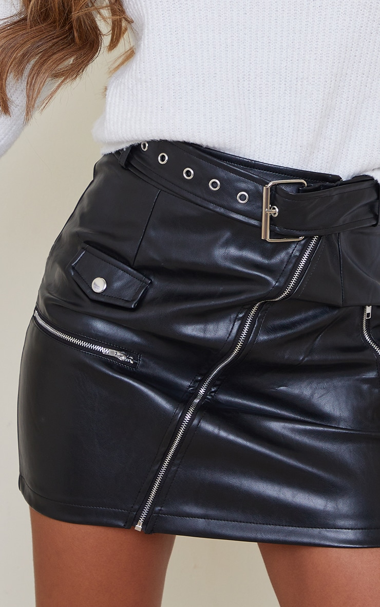 Black Faux Leather Biker Belted Mini Skirt 5