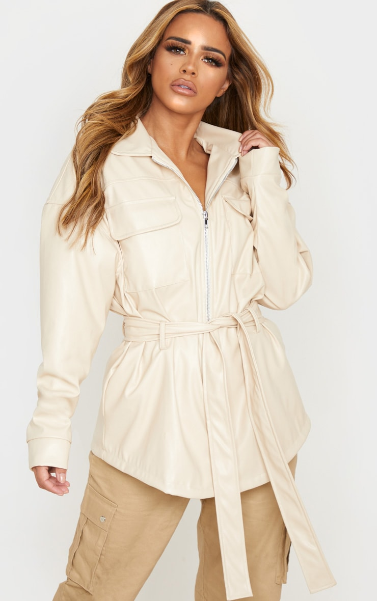 Petite Cream Faux Leather Belt Detail Jacket 1