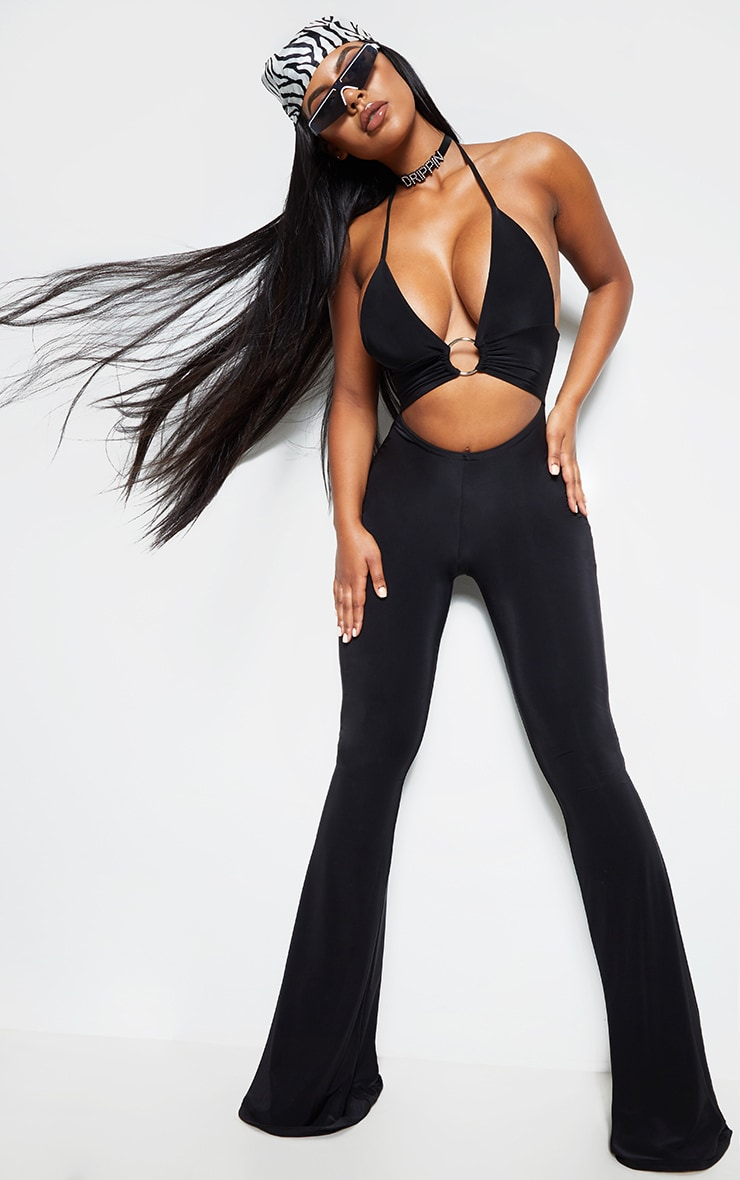 Black Plunge Ring Detail Flare Leg Jumpsuit 1