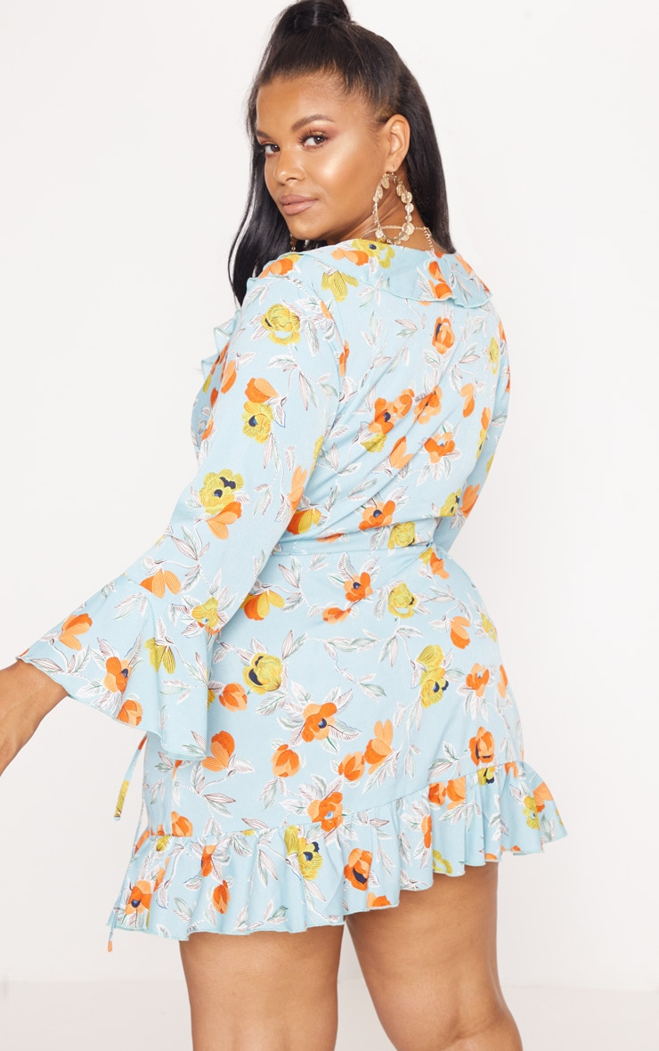 Plus Turquoise Floral Printed Frill Wrap Tea Dress 2