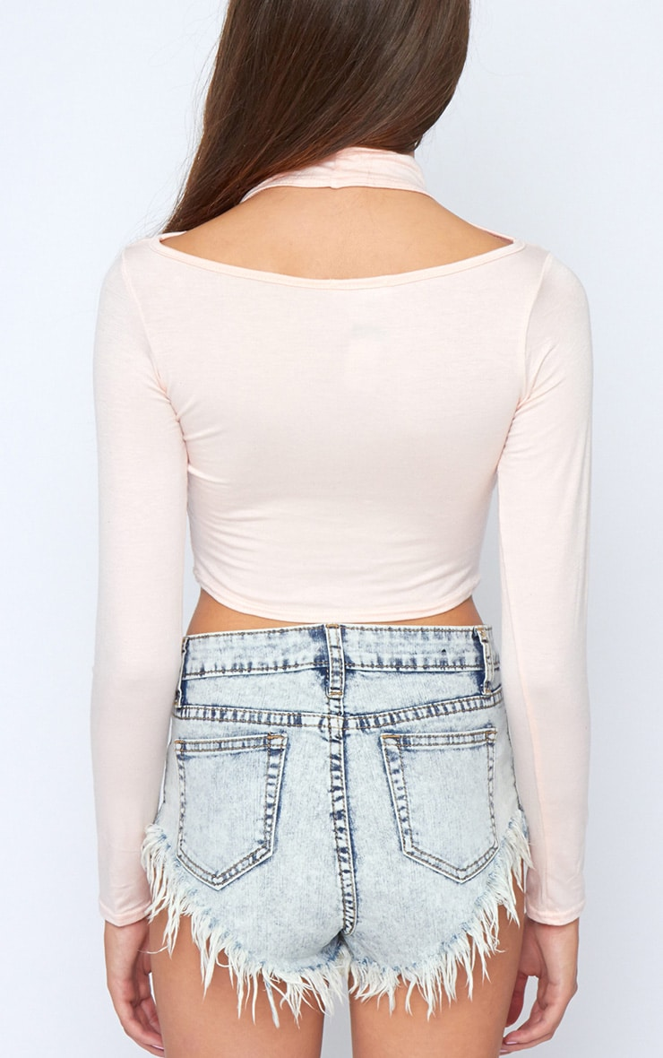 Jenna Pink Roll Neck Cut Out Crop Top  2
