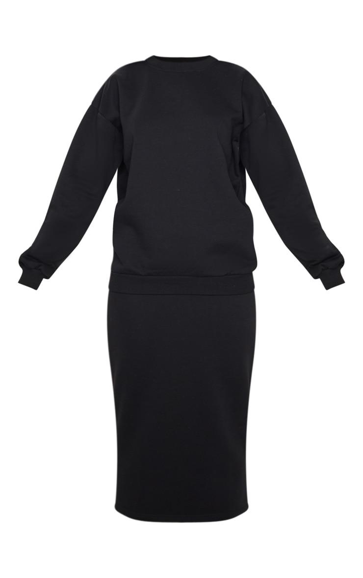 Black Crew Neck Sweater & Midi Skirt Set 5