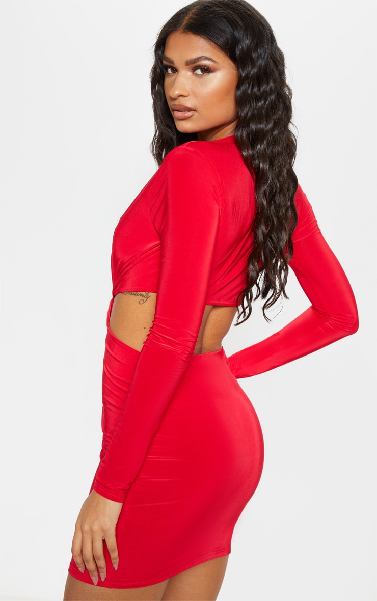 Red Slinky Knot Front Cut Out Bodycon Dress 2