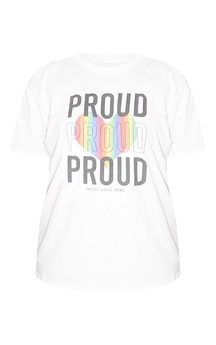 Plus White Proud Slogan T Shirt 5
