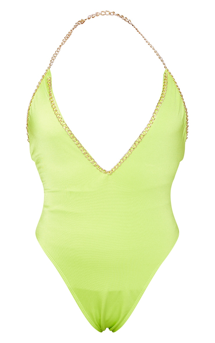 Lime Chain Trim Scoop Swimsuit 5