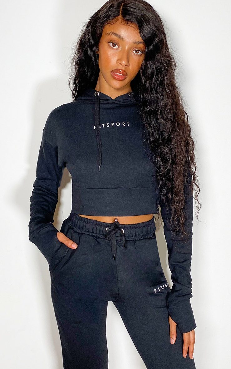 PRETTYLITTLETHING Black Sport Soft Cropped Hoody 3