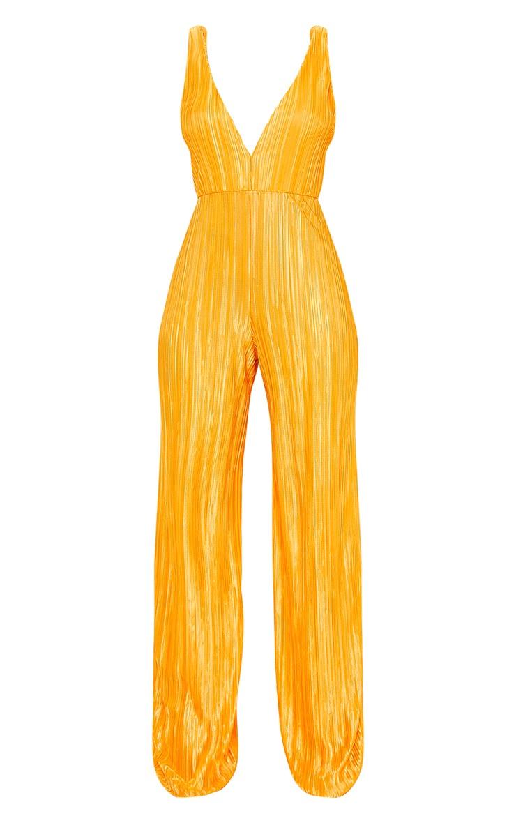 Combinaison orange vif à bretelles et décolleté plongeant 5