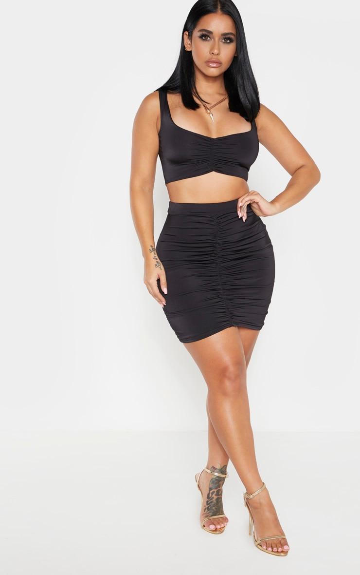 Shape Black Ruched Front Mini Skirt 4