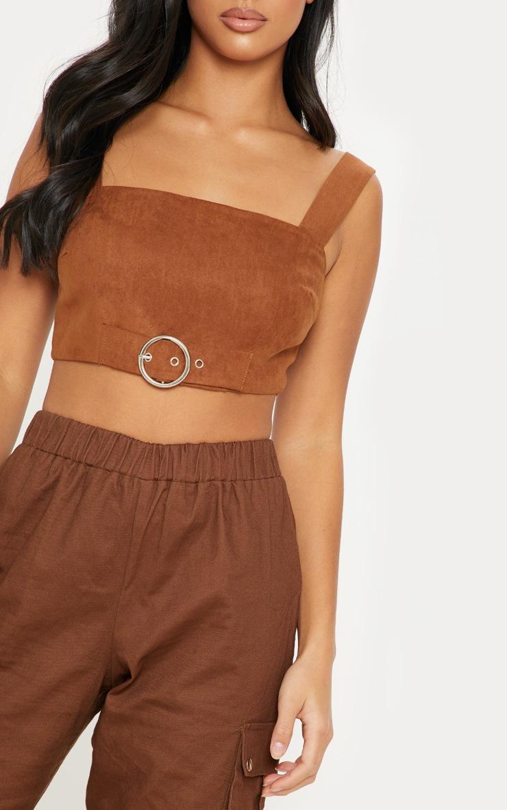 Petite Chocolate Brown Faux Suede Buckle Detail Crop Top 5