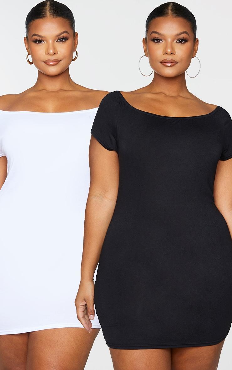 Plus 2 Pack White & Black Basic Bardot Bodycon Dress 1