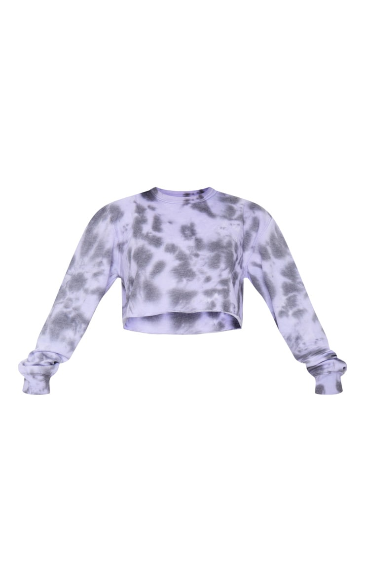Petite Lilac Acid Wash Cropped Sweater 5