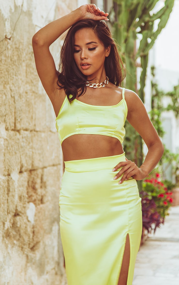 Lime Satin Crop Top 1