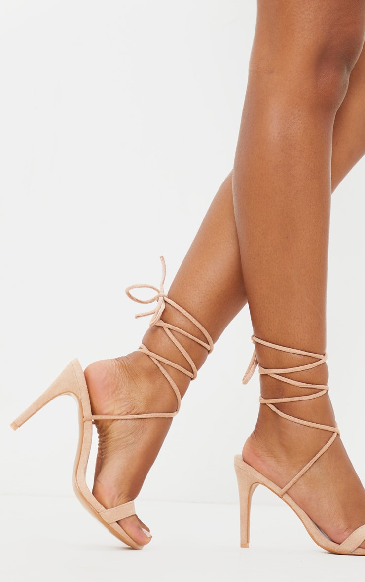 Nude Barely There Ankle Tie Strappy Sandal by Prettylittlething