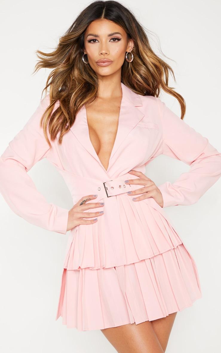 Dusty Pink Pleated Buckle Trim Blazer Dress 1