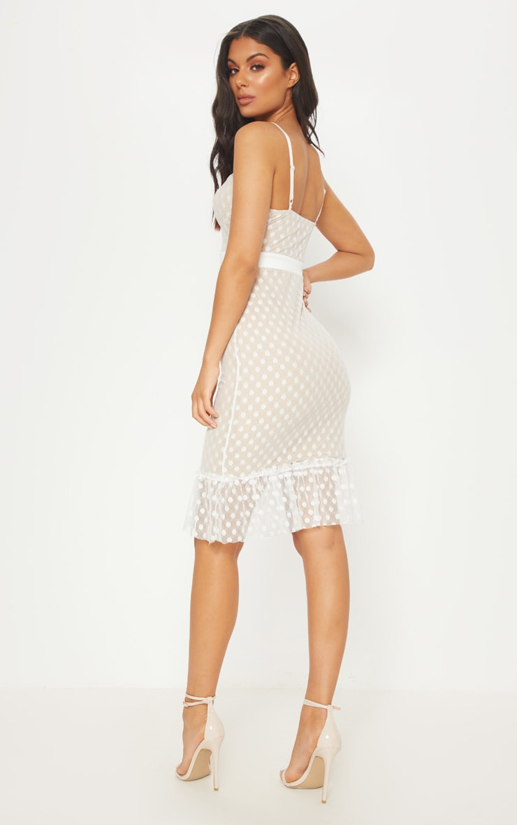 White Polka Dot Mesh Strappy Frill Hem Bodycon Dress 2