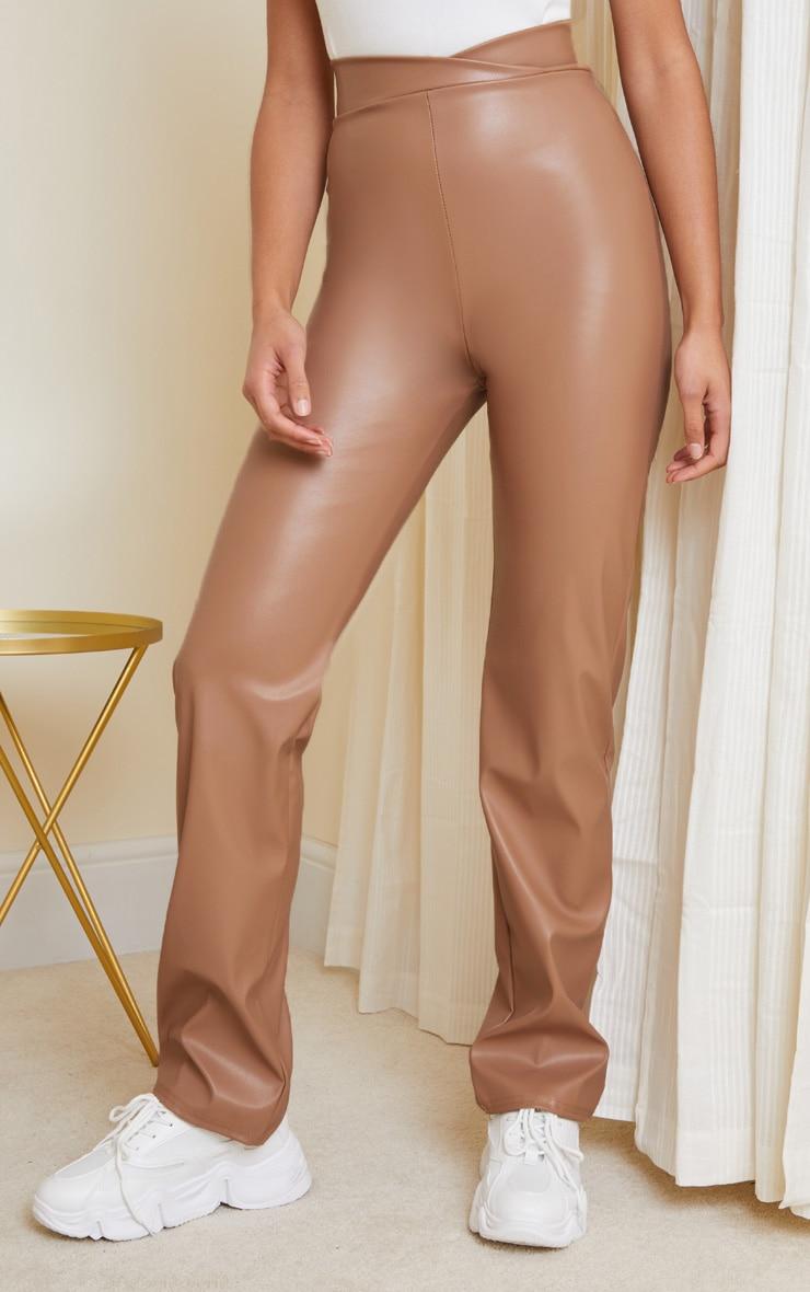 Stone Dip Waist Straight Leg Faux Leather Pants 2
