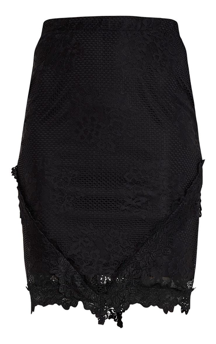 Doreanna Black Lace Frill Panelled Midi Skirt 3