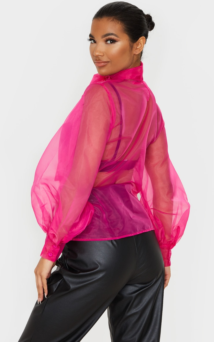 Hot Pink Sheer Organza Pussy Bow Puff Sleeve Blouse 2