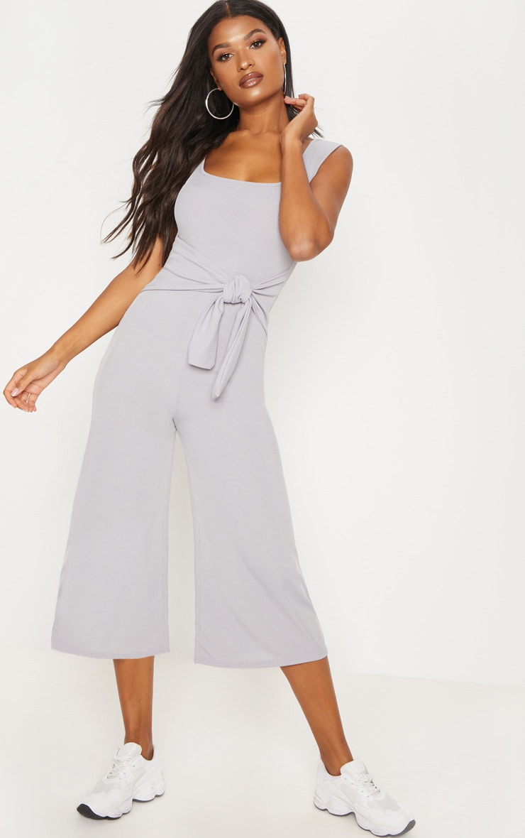 Grey Ribbed Tie Waist Culotte Jumpsuit 1