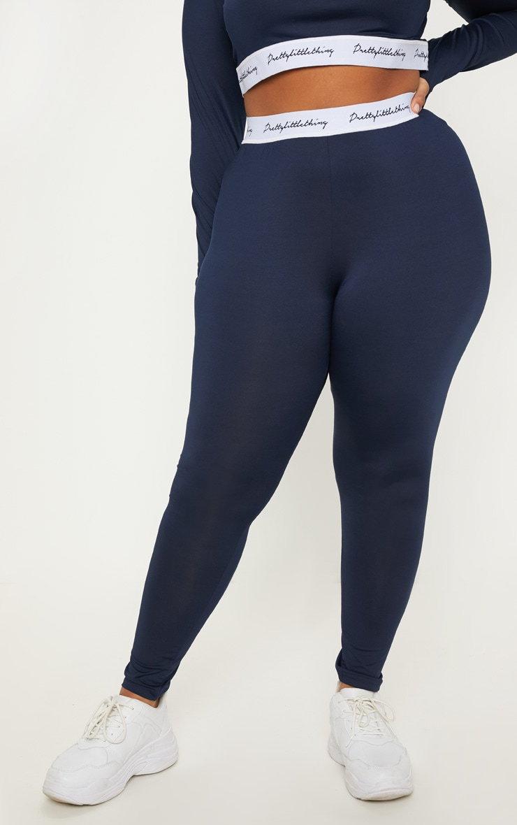 PRETTYLITTLETHING Plus Navy Elasticated Band Leggings 2
