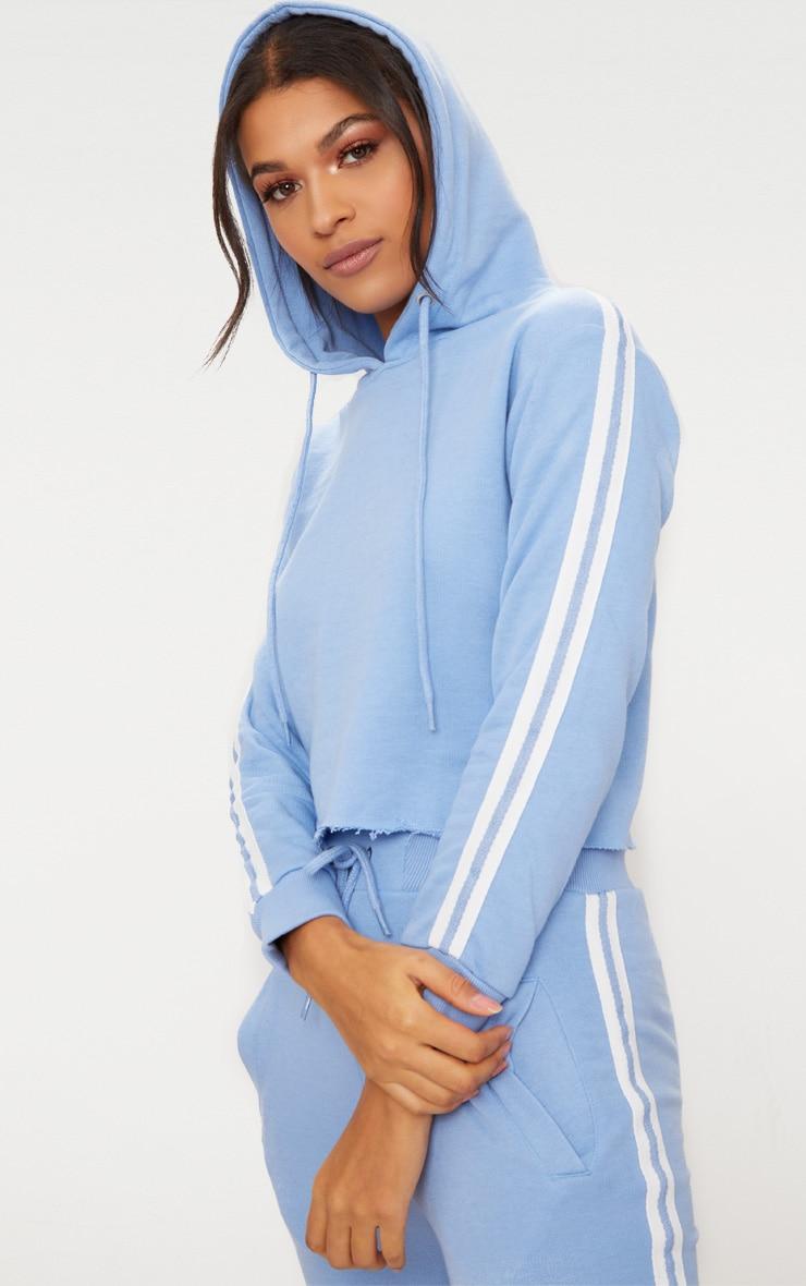 Baby Blue Side Stripe Hoodie