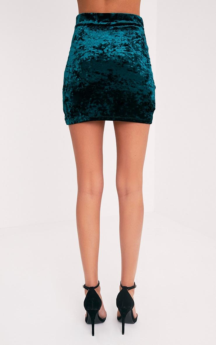 Gabriella Emerald Green Velvet Wrap Hem Mini Skirt 5