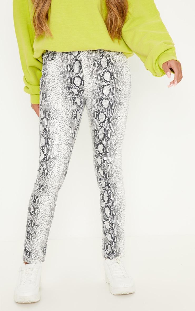 Grey Snake Print Skinny Jean  2